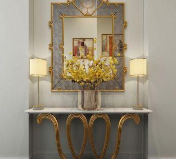 北欧玄关装饰柜镜子组合