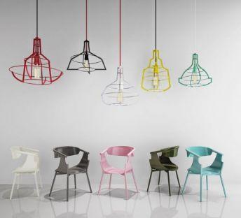 现代北欧休闲单椅吊灯组合