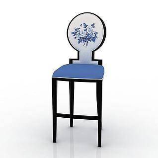 中式风格吧椅3d模型