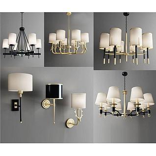 现代美式吊灯壁灯组合3d模型