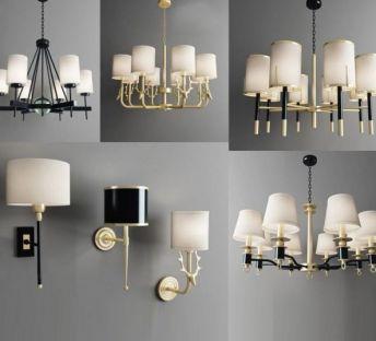 现代美式吊灯壁灯组合