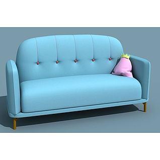 可爱蓝色沙发3d模型