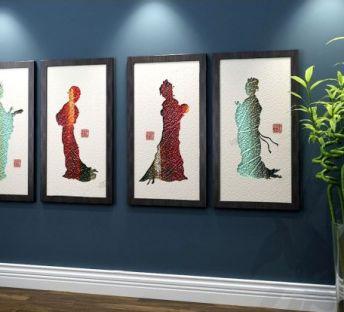 中式仕女立体装饰挂画