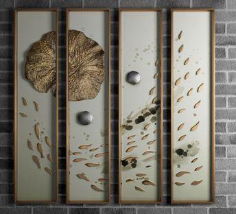 新中式鲤鱼荷叶立体挂画