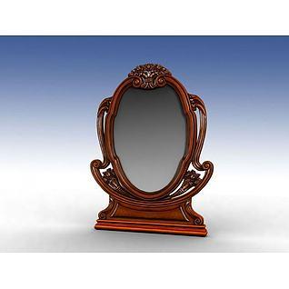 实木梳妆镜3d模型