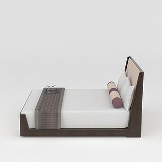 实木双人床3d模型