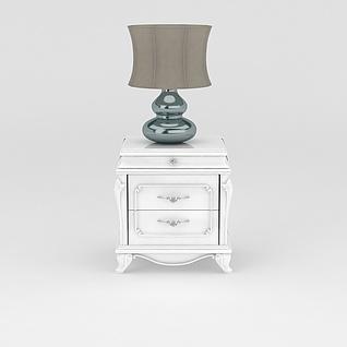 床头柜台灯组合3d模型