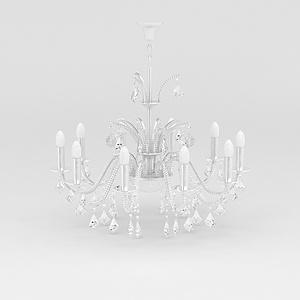3d白色<font class='myIsRed'>水晶吊燈</font>模型
