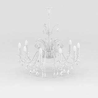 白色水晶吊灯3d模型