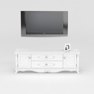 白色电视柜3d模型
