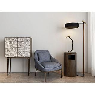 中式柜子单椅落地灯组合3d模型