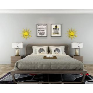 现代简约卧室床墙饰品组合3d模型