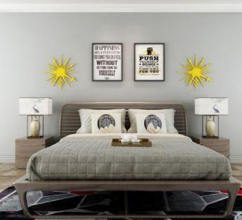 现代简约卧室床墙饰品组合