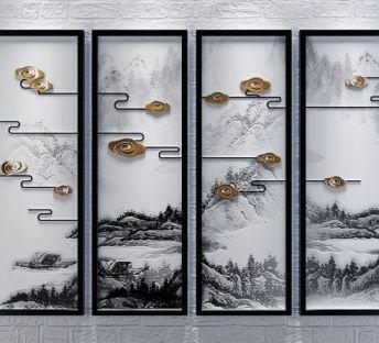 新中式山水意境立体挂画