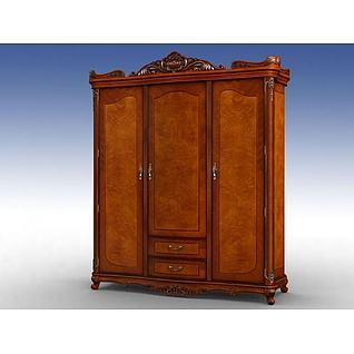美式实木三门衣柜3d模型