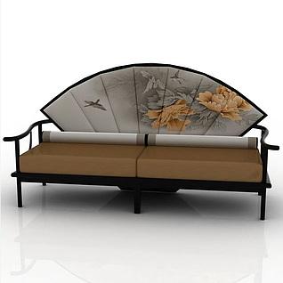 中式扇形靠背长沙发3d模型