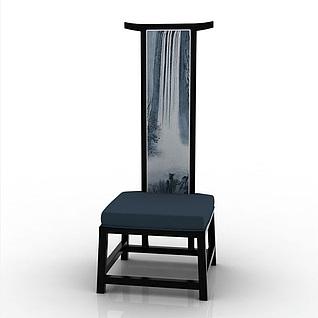 中式高背单人椅3d模型