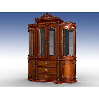 美式古典酒柜3d模型