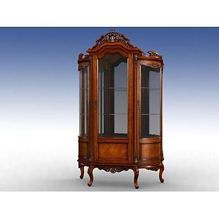古典玻璃门酒柜3d模型