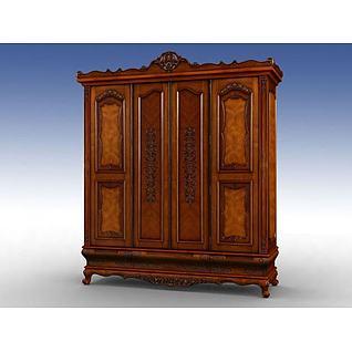 古典衣柜3d模型