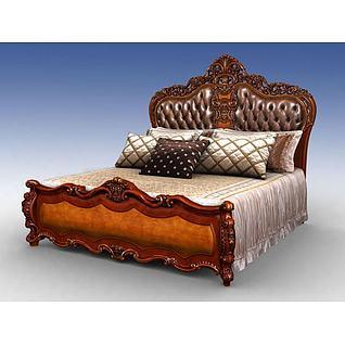 豪华美式床3d模型