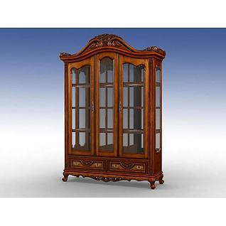古典美式酒柜3d模型
