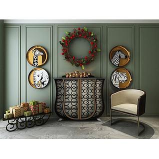 欧式饰品边柜礼物台组合3d模型