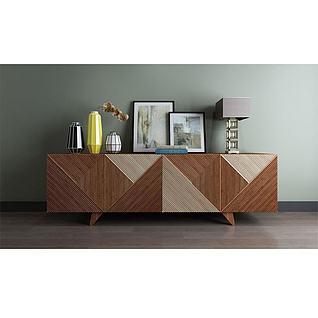 现代拼接木电视柜饰品组合3d模型