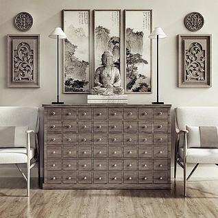 中式柜子佛祖雕塑组合3d模型