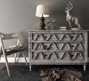 美式工业风旧木边柜椅子组合