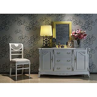 欧式边柜椅子花艺组合3d模型
