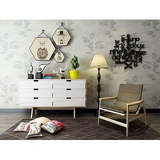 现代创意边柜椅子组合3d模型