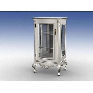 欧式玻璃门餐边柜3d模型