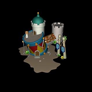 Q版场景斜楼3d模型