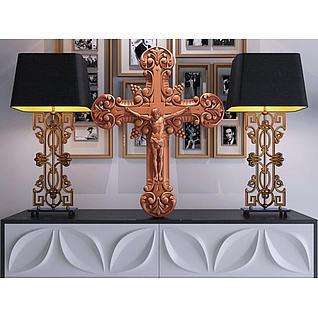 耶稣十字架台灯组合3d模型