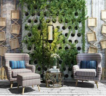 休闲绿植墙单人椅组合