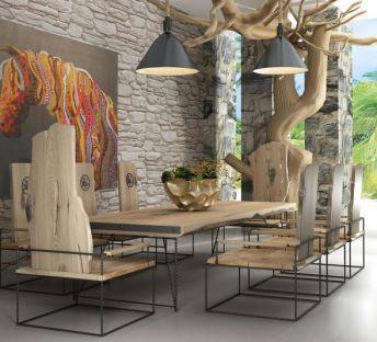 原木桌椅创意吊灯组合