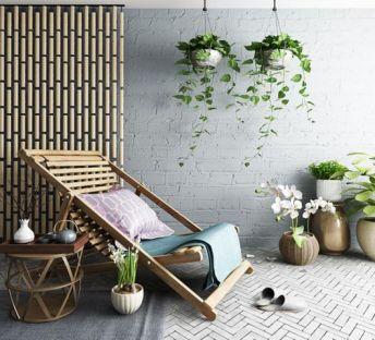阳台躺椅植物组合