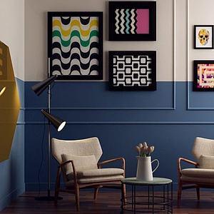 3d北欧椅子茶几落地灯组合模型