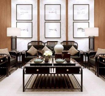 中式客厅沙发茶几组合