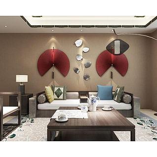 中式沙发椅子鱼墙饰品组合3d模型
