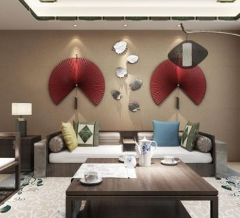 中式沙发椅子鱼墙饰品组合