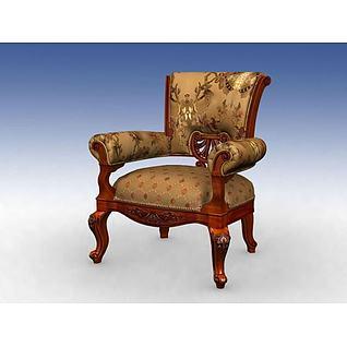 美式休闲椅3d模型