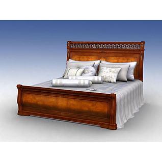 实木床3d模型