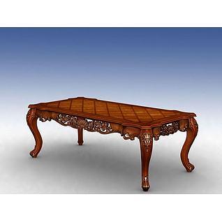 美式实木餐桌3d模型