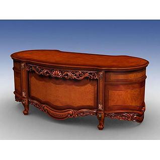 古典实木办公桌3d模型