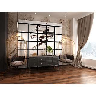 后现代吊椅装饰柜组合3d模型