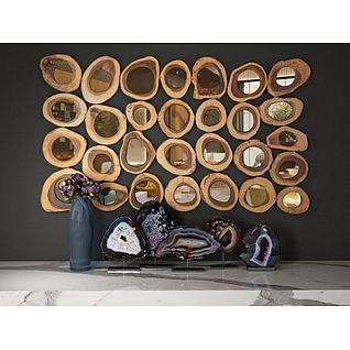 木头年轮墙饰3d模型