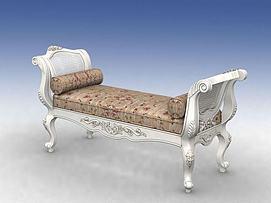 欧式床前凳模型