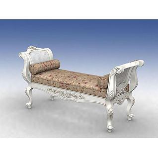 欧式床前凳3d模型